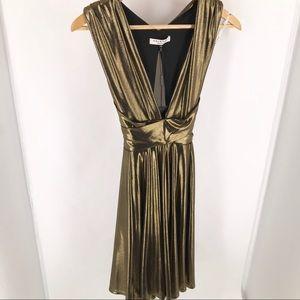 Halston Heritage Cocktail Gold + Black Mini Dress